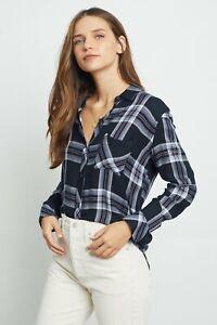 Rails Hunter shirt BLACK CELESTE ROUGE Top  long sleeves Rayon