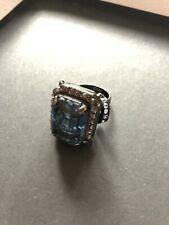Lanvin Gunmetal Tone Brass Blue Swarovski Crystal Ring Size 55 M