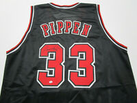 SCOTTIE PIPPEN / AUTOGRAPHED CHICAGO BULLS BLACK CUSTOM BASKETBALL JERSEY / COA