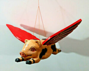 """Hanging Mobile Decorative Flying Pig, 8"""" Length, Hand Crafted, Made in Bali"""