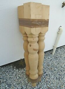 Set 4 Solid Pine Dining Table Legs Turned Wood Country Farmhouse Cottage Style