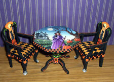 Dollhouse Miniature Painted Halloween Table & Chairs Witch Cat L.Lassige OOAK