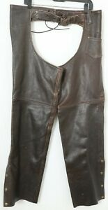 Leather King Distressed Brown Heavy Duty Motorcycle Riding Chaps Men's XL
