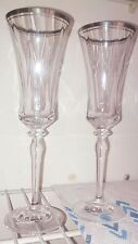Set of two Wedding Silver Rim Champagne Flutes