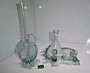 2 Glas Karaffen Dekanter mit Glas-Stopfen  Stier + Flasche