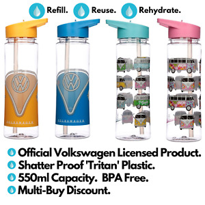 VW T1 Camper Van Shatterproof Reusable Eco-Friendly 550ml Plastic Water Bottle