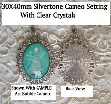 30X40mm Oval Cameo Pendant Setting Lacey Silvertone w/Crystals & Bail Zinc Alloy
