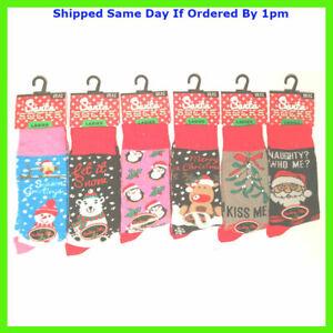 Ladies Girls Christmas Character Socks Novelty Festive Xmas Gift Party Santa