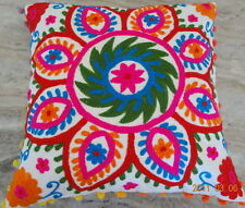 2 Pcs Hand Made cushion Cover 16x16'' Suzani Embroidered Pillow Case UK