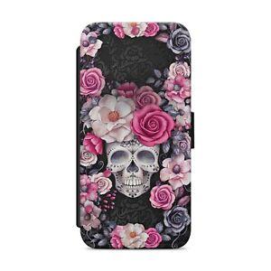 Skull Rose Flower Floral WALLET FLIP PHONE CASE COVER FOR iPhone Samsung    z107