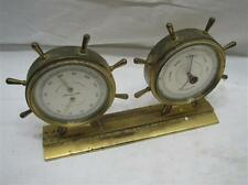 Airguide Brass Ship's Wheel Nautical Weather Station Thermometer Barometer Deco