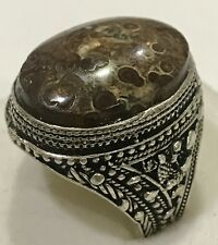 Silver Yemeni Multi-Color Onyx Men Ring, Rare, جزع يماني نادر