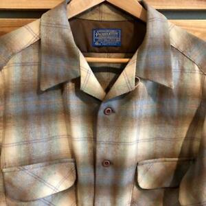 VTG Mens Pendleton Virgin WOOL Plaid Loop Collar Board Flannel L/S Shirt XL