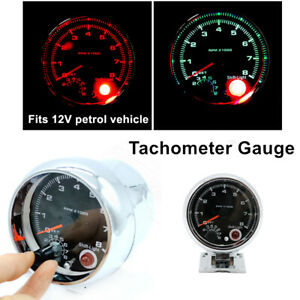 7 Colors LED Backlight Car Tachometer 0-8000 RPM Fits For 12V Petrol Vehicle