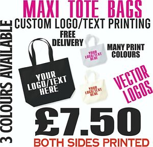 Tote Bag Custom Printed Text Logos Personalised Print Colours Gifts Shopping Bag
