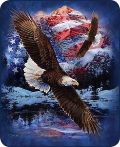 Queen Size Snow Eagle Patriotic US Flag Mink Faux Fur Blanket Super Soft Plush