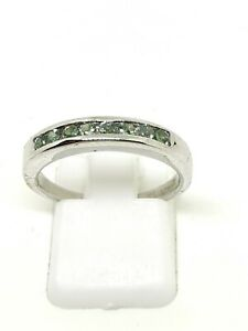 9ct white gold alexandrite half eternity ring size n½ full hallmarked
