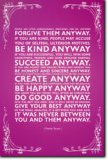 MOTHER TERESA INSPIRATIONAL POSTER - ARTISTIC PHOTO PRINT - MOTIVATIONAL QUOTE