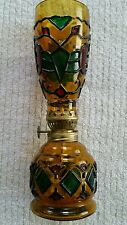 """Vintage Decorative Amber,Green,Red Stained Glass Oil Lamp 8' 1/2 """" Tall"""