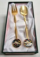 Souvenir Spoon & Fork Beautiful Swan Artwork Gold Tone Set Made in Korea Vintage