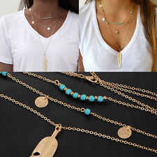 Women Boho 3 Layers Turquoise Pendant Necklace Feather Jewellery Beads Chain  A+