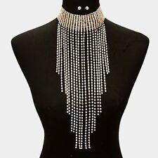 Crystal Rhinestone Choker Fringe Bib Necklace Earring Gold Tone Jewelry Set