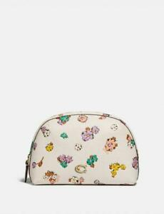 COACH Julienne Cosmetic Case 17 Floral Print Chalk Brass Leather Handbag Bag NEW
