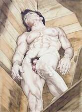 Oh boy, homme nu, watercolor print nude male looking up at Richard