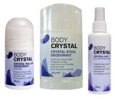 Body CRYSTAL DEODORANT Natural STICK & SPRAY & ROLL ON Pack Fragrance Free