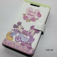 For iPHONE 4 4S - DISNEY MICKEY & MINNIE LEATHER POUCH HOLSTER SKIN CASE COVER