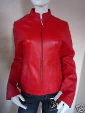 WOMENS RED NAPPA LEATHER SHORT ZIP FRONT JACKET    UK 8    £399.99    BNWT