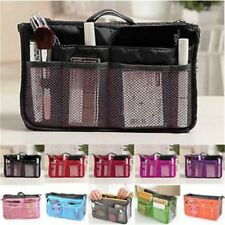 Dual Bag in Bag Cosmetic Makeup Travel Mesh Pouch Handbag Organizer(Fusha Pink)