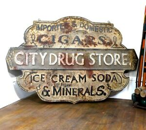 Drug Store Trade Sign Stamped Tin Cigar Vintage Style Soda Fountain