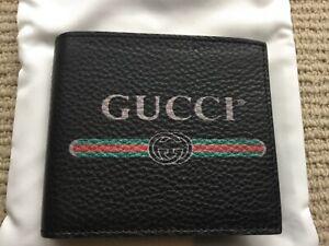 Gucci Men Leather Print Wallet Genuine Gucci COA Black 8 Card Slot Brand New