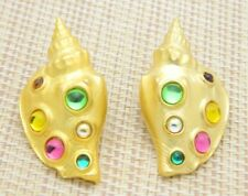 PARKLANE Park Lane JJ SEA SHELL Conch Cabochon Post Earrings Vintage