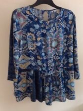 Ladies Next Blue Paisley Patterned 3/4 Sleeve Peplum Blouse Top Size 8