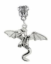 Winged Dragon Legendary Creature Fantasy Dangle Charm for European Bead Bracelet