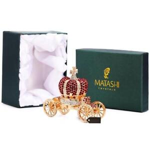 Hand Painted Royal Crown Carriage Ornament Box Embellished w 24K Gold by Matashi