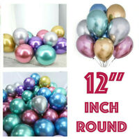 "10 / 20 CHROME BALLOONS METALLIC LATEX PEARL 12"" Helium Birthday Party Baloon"