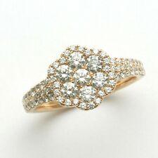 18k rose pink gold Diamond Flower Cluster Ring 2 carat Pave Engagement Ring RHR