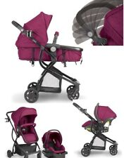 Raspberry Pink Baby Stroller Car Seat Carriage Set Travel 3 in 1 System Bassinet