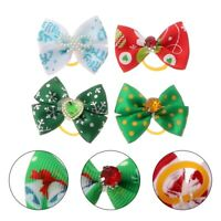 50Pcs Christmas Dog Puppy Cat Pet Hair Bows W/Rubber Bands Party Grooming
