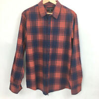 Billabong Dress Shirt Mens Sz M Medium Red Blue Plaid Button Up Long Sleeve P12
