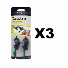Nite Ize CamJam Cord Tightener Black Small w/ Rope Lightweight (3-Pack of 2)