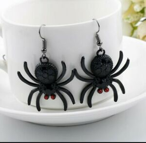 Spider Red & Black Crystal Drop Dangle Earrings Gothic Horror Halloween 284