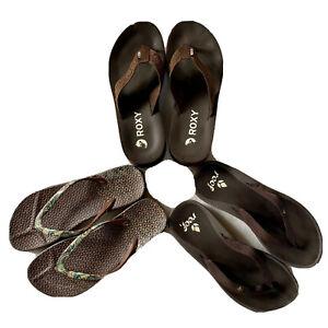 Women's Size 6 Bundle (3): Slippers Zori Flip Flops ROXY, REEF, & Unbranded GUC