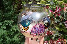 VETRO colorato e dipinti pesce Bowl con bianco metallo (peltro?) RIM & Base