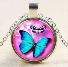 Vintage butterfly Cabochon Tibetan silver Glass Chain Pendant Necklace women