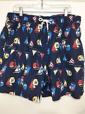 Brooks Brothers Men XL Blue Racing Sailboats Spinnakers Nylon Swim Trunks Lined