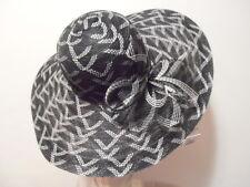 Hat - BLACK/White Design XWide Brim Kentucky Derby Church Wedding Resort Bow